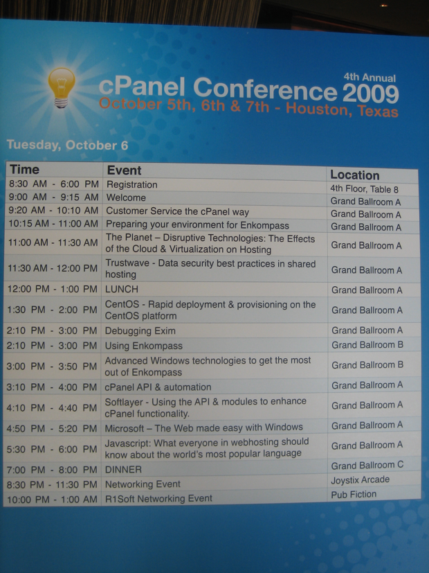 cpanel-conference-agenda-october-6-2009